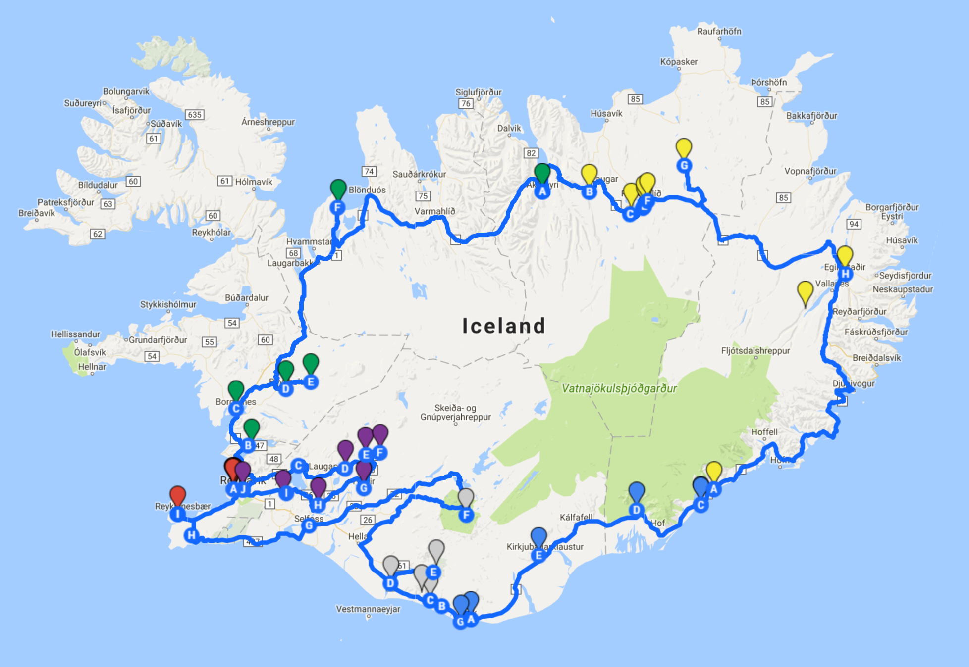 Our  10 day route  across the country!