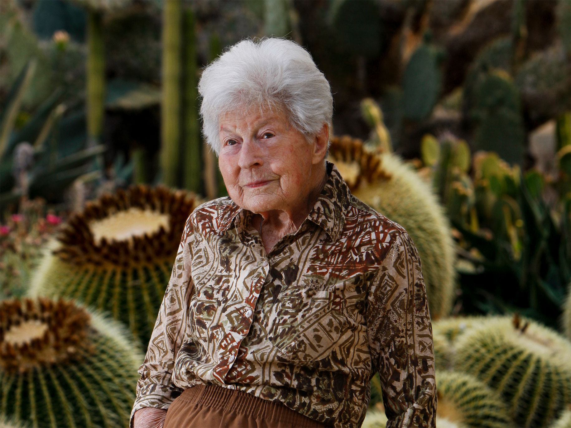 ERIC LUSE/SAN FRANCISCO CHRONICLE  Ruth Bancroft, just before her 100th birthday, in her cactus and succulent garden in Walnut Creek.