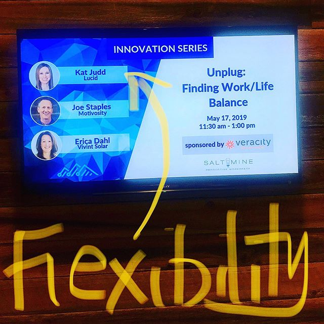 Appreciated Kat Judd's insight today on flexibility at @utahtechcouncil panel. Had to practice it myself as I left early to play mom!
