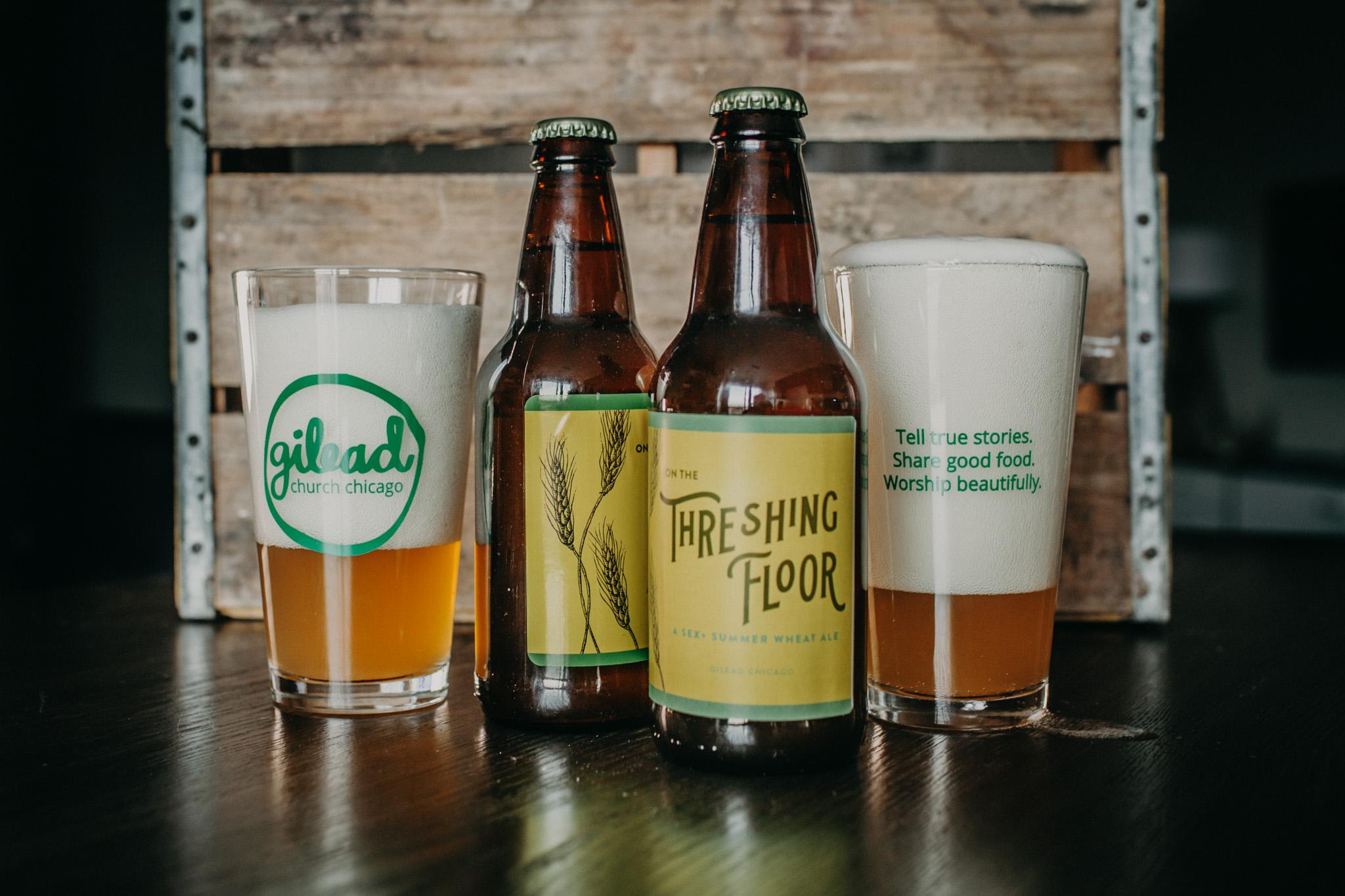 threshing floor beer label design