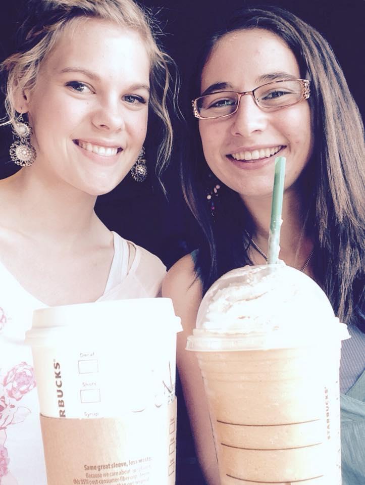 "Celebrating Autumn ""Pumpkin Spice latte style"" with my sweet friend, Katelyn."