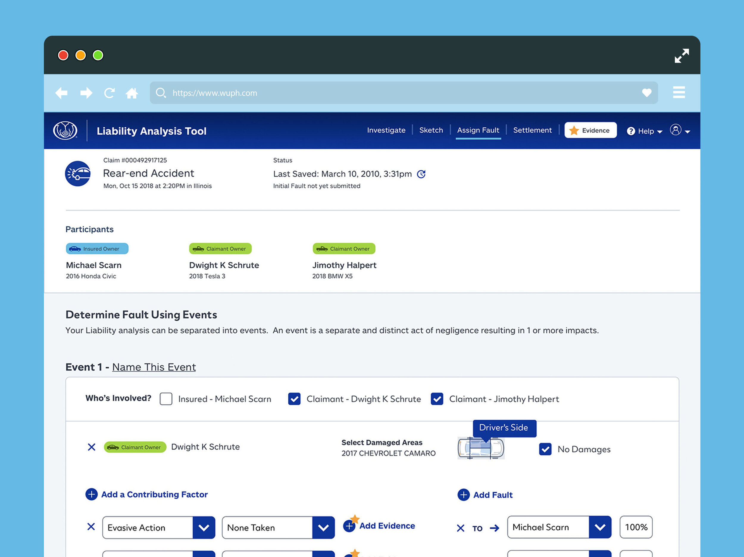 The Liability Analysis Tool allows users to input who is at fault to who and why.