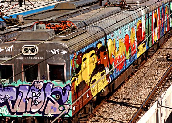 Os gêmeos piece on a train in Brasil.