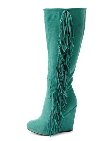 Charlotte Russe Sueded Fringe-Trim Wedge Boot.jpg