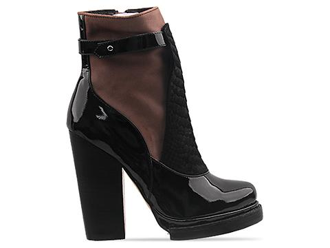 Jeffrey Campbell Lopez in Black Patent Brown Combo
