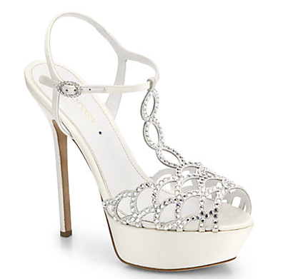 """Perfect wedding shoe for a lace wedding dress. The curves would match, and the bling adds sweet shine.   Secure √ ::  Material √  ::  4"""" instep"""