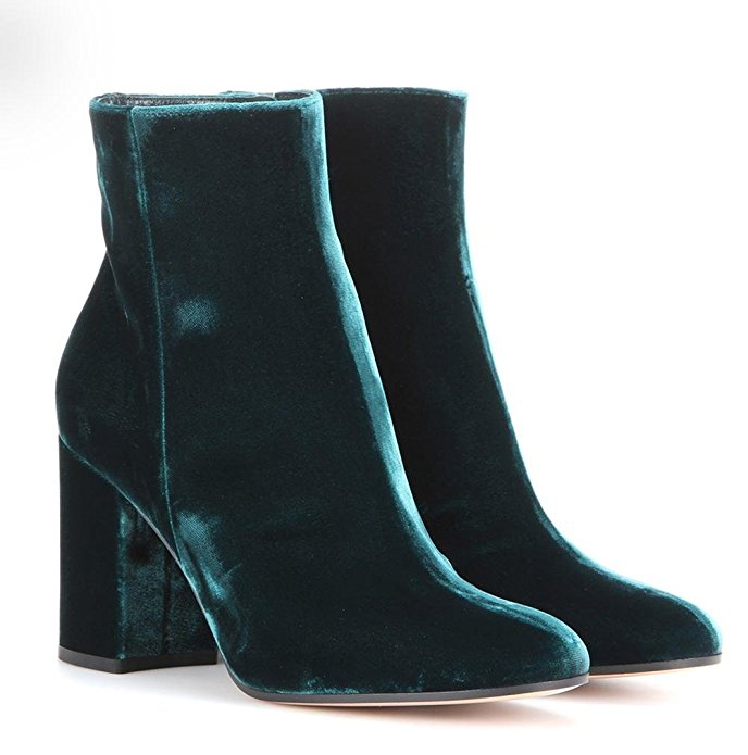 YUN - $104.99  These booties remind my of shining Christmas ornaments - sleek, shiny, and chíc.
