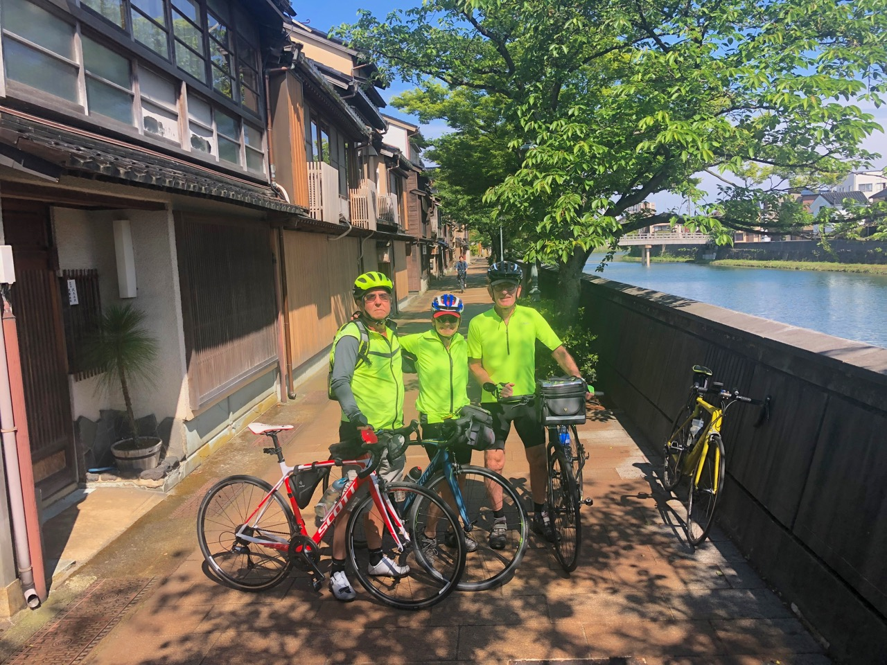 Cycling the canals in Kanazawa on our Noto ride.