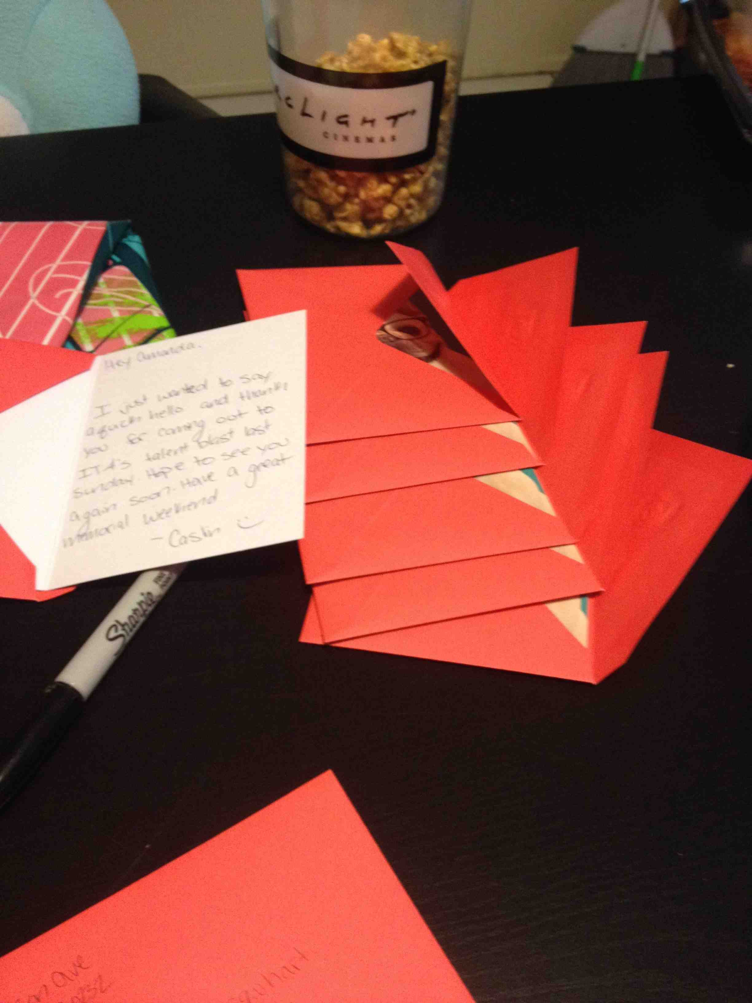 Thank you letters from the workshop.