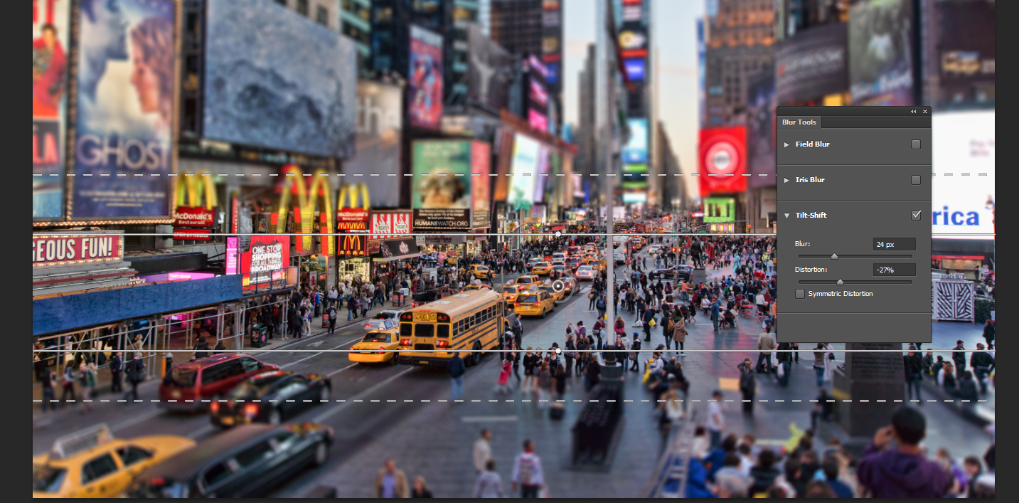 Tilt Shift Blur  (Part of Photoshop Blur Gallery Options), is one of the most processing intensive feature of Photoshop, having a multi-core system and a dedicated Graphic Card can truly improve the editing workflow.