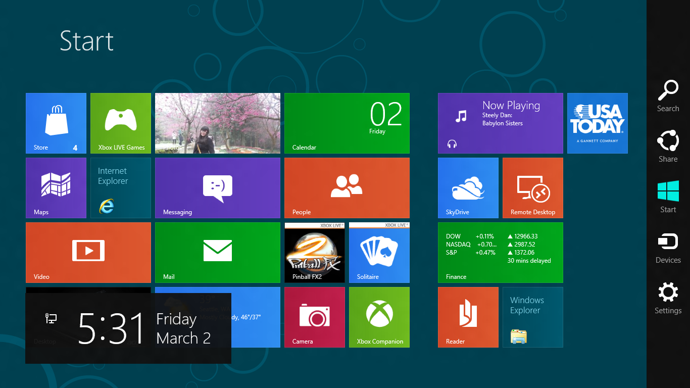 The Charms bar, along the right edge of the screen, is available both in desktop mode and from the Windows 8 Start screen.