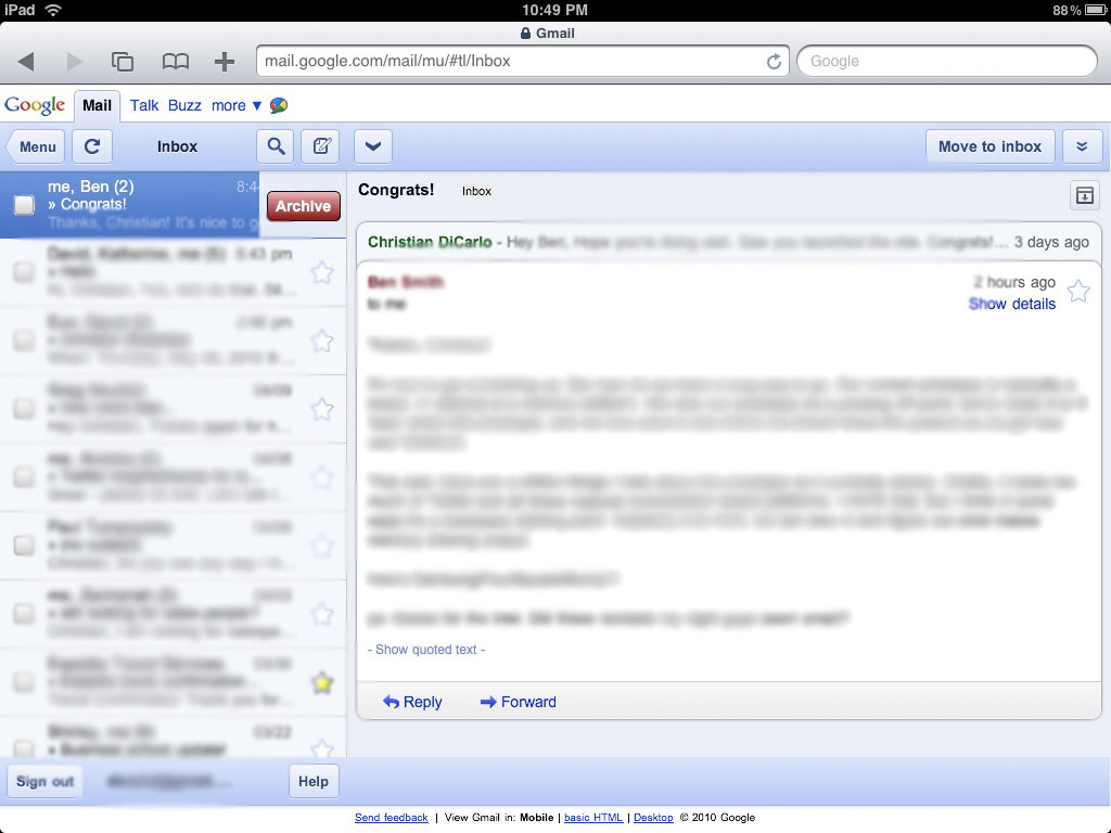 Old Gmail on the iPad