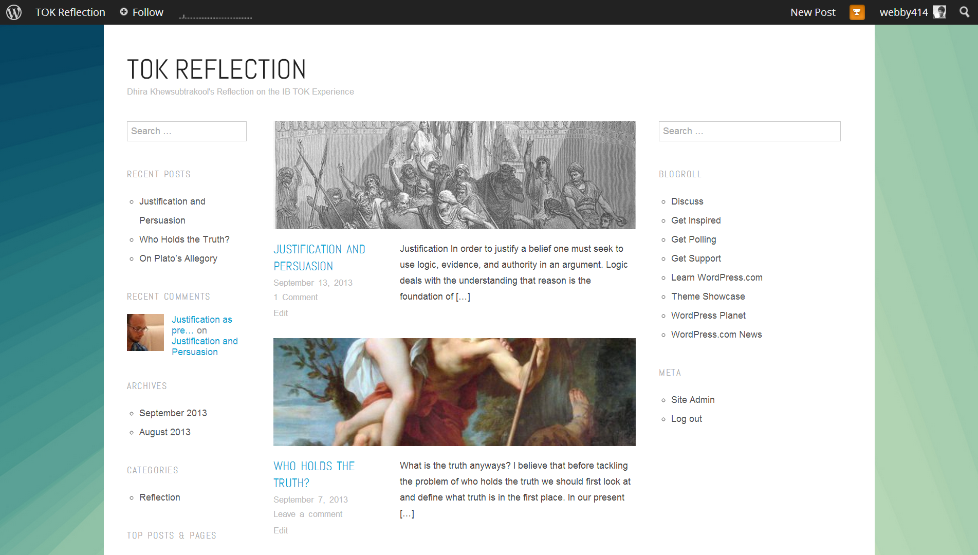 A TOK Field Journal Blog. Beautifully crafted with Wordpress