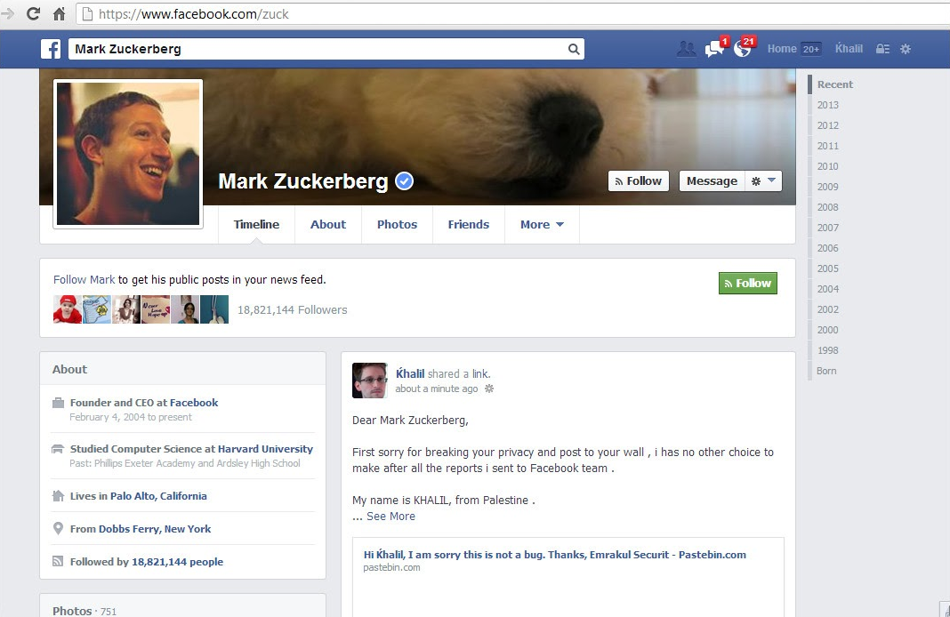 Mark Zuckerburg's Facebook page