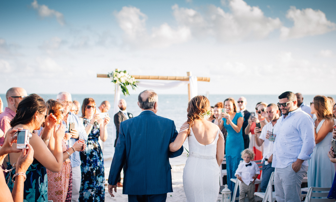 FATHER WALKING DOWN THE ISLE WITH THE BRIDE, COULD BE YOUR MIAMI WEDDING!