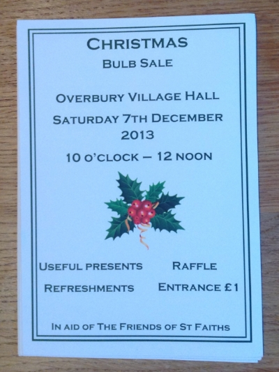 Christmas Sale Overbury Village Hall 10am - 12 Entrance £1