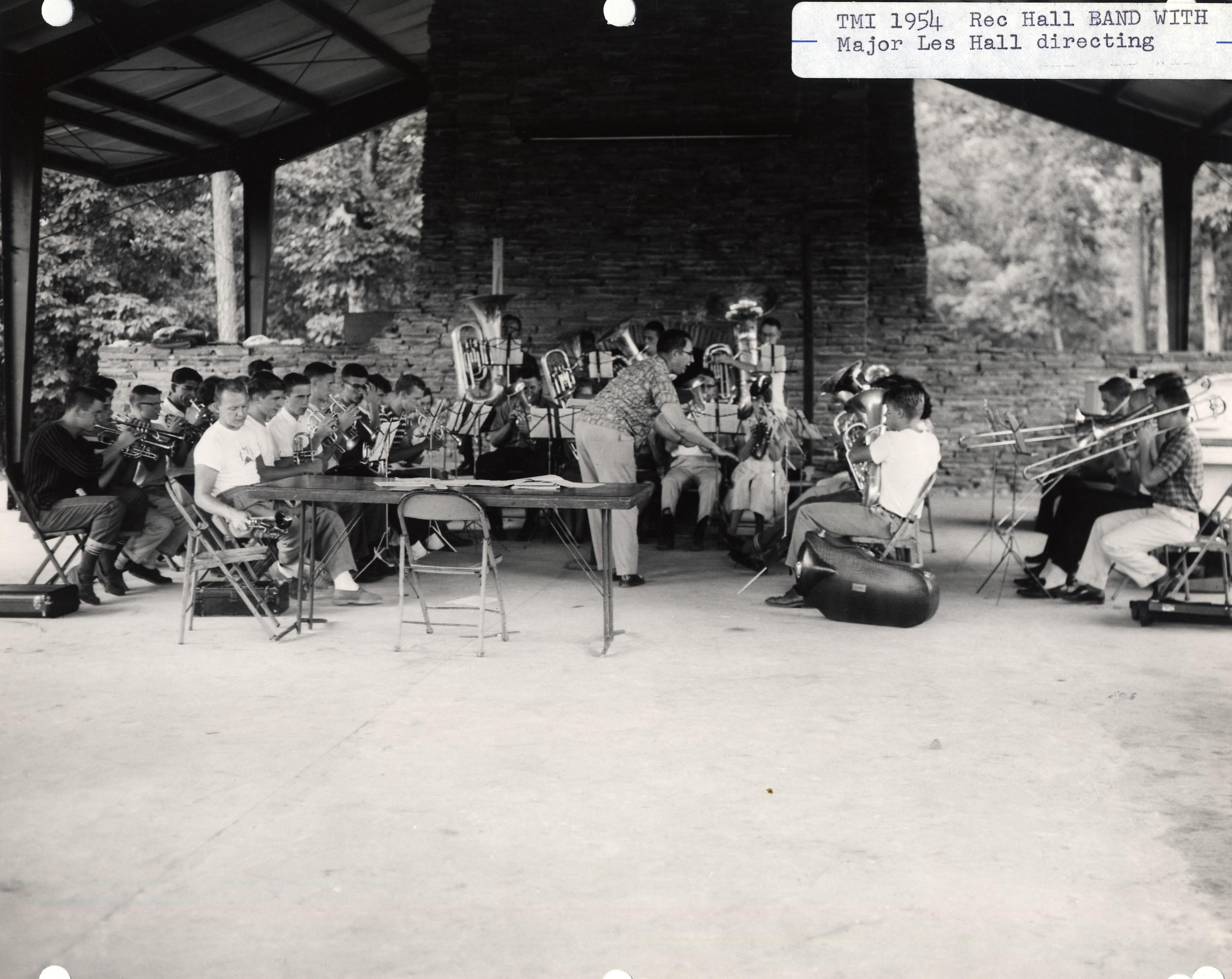 Territorial Music Institute (TMI) 1954, Rec Hall Band rehearsingwith Major Leslie Hall.Camp Grandview, Jasper, GA.
