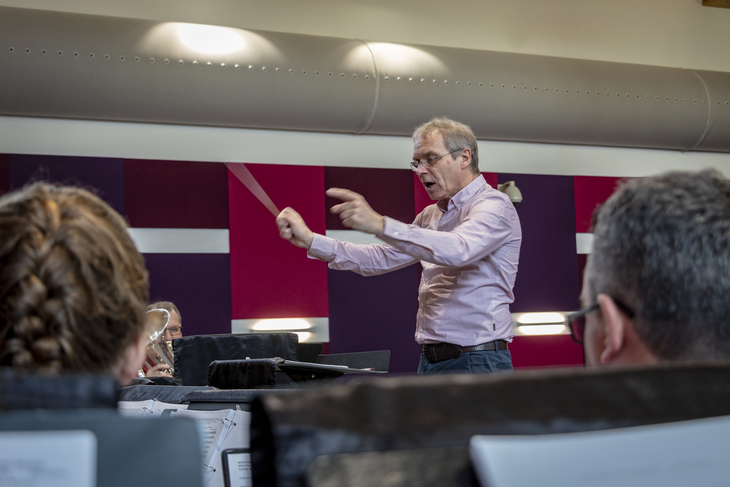 Dr. Stephen Cobb (Bandmaster of the International Staff Band) conducting the STB in rehearsals at the Chelmsford Corps.