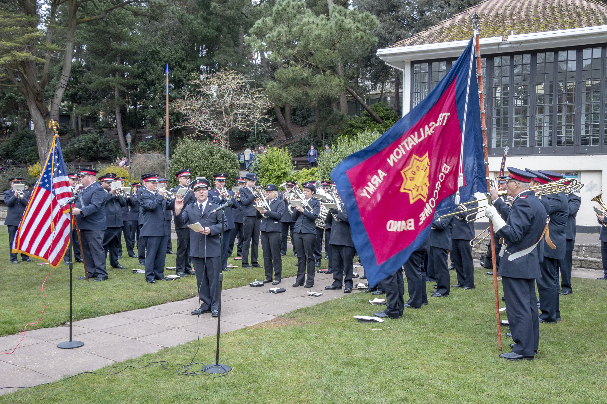 The combined bands (STB and Boscombe Corps) at the open air on Easter Sunday.