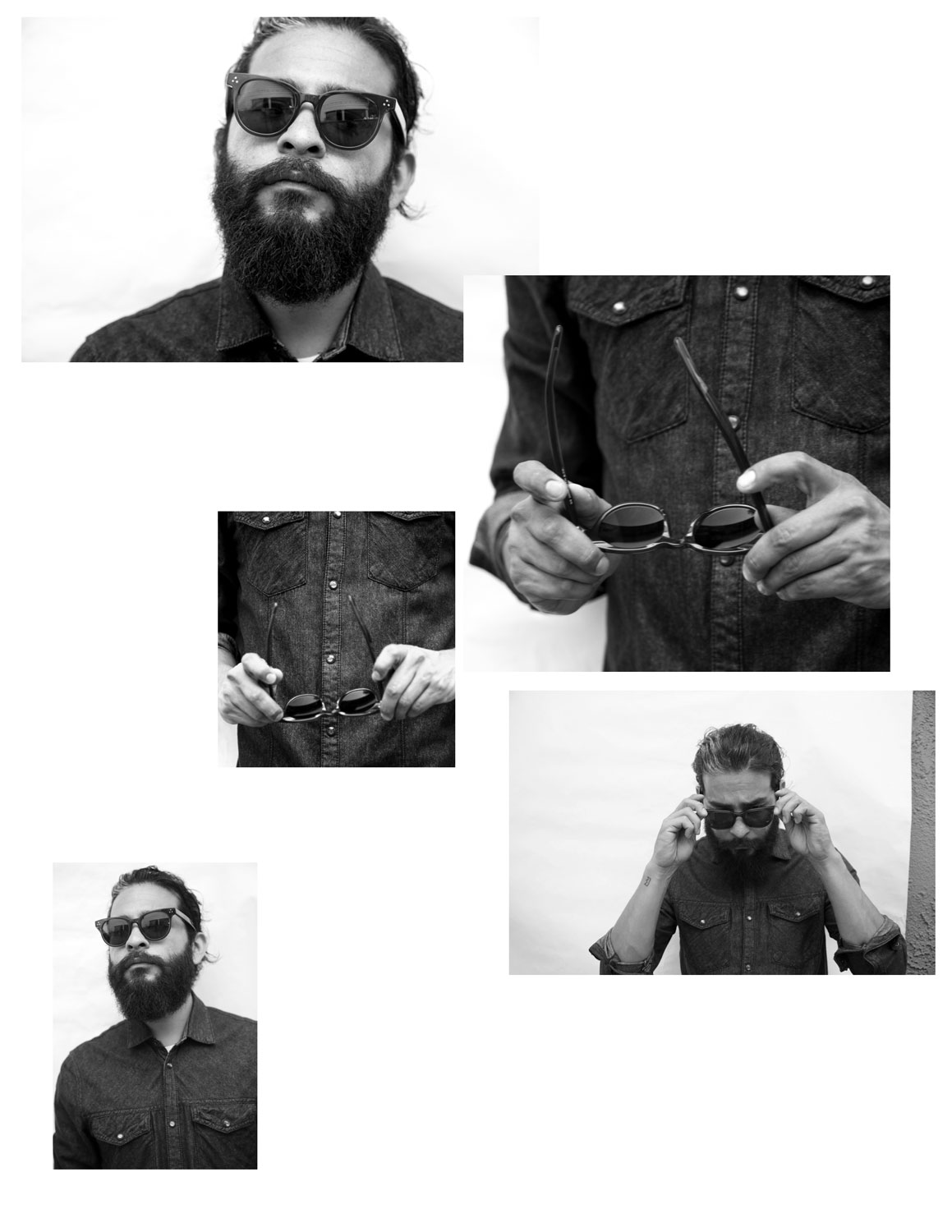 black and white photographs of bearded man in john ruvin sunglasses | The Skulls Los Angeles