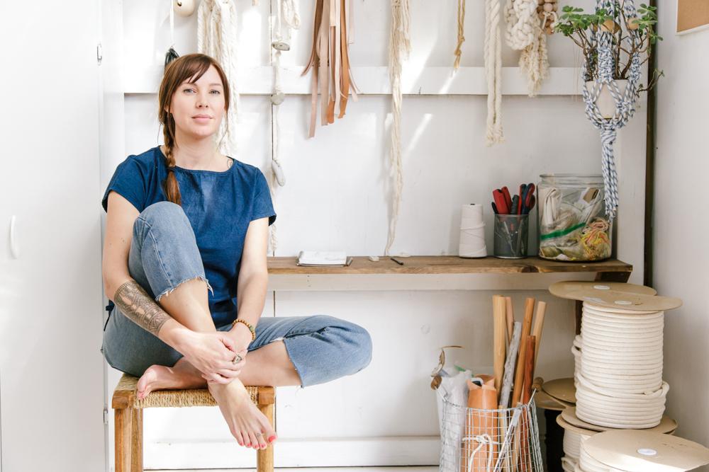 Fibre artist Sally England in her Ojai studio - The Skulls