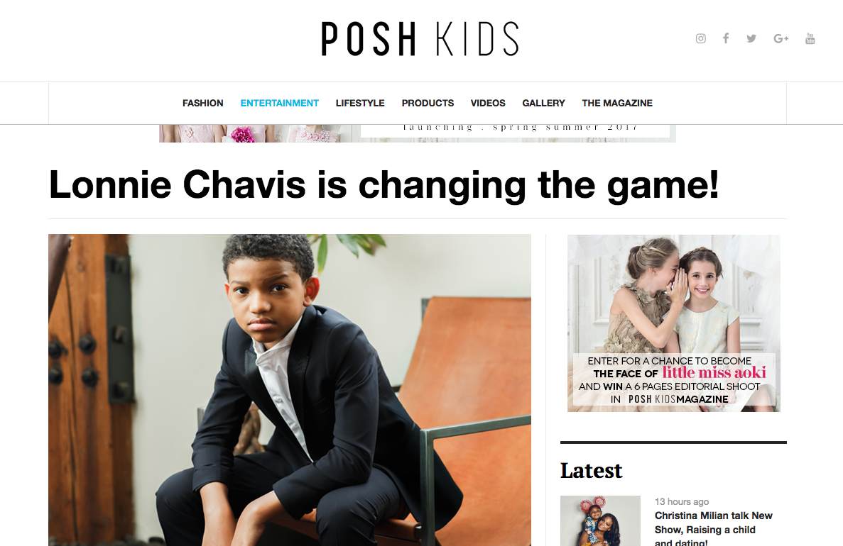 Lonnie Chavis for Posh Kids Magazine - Photography by The Skulls