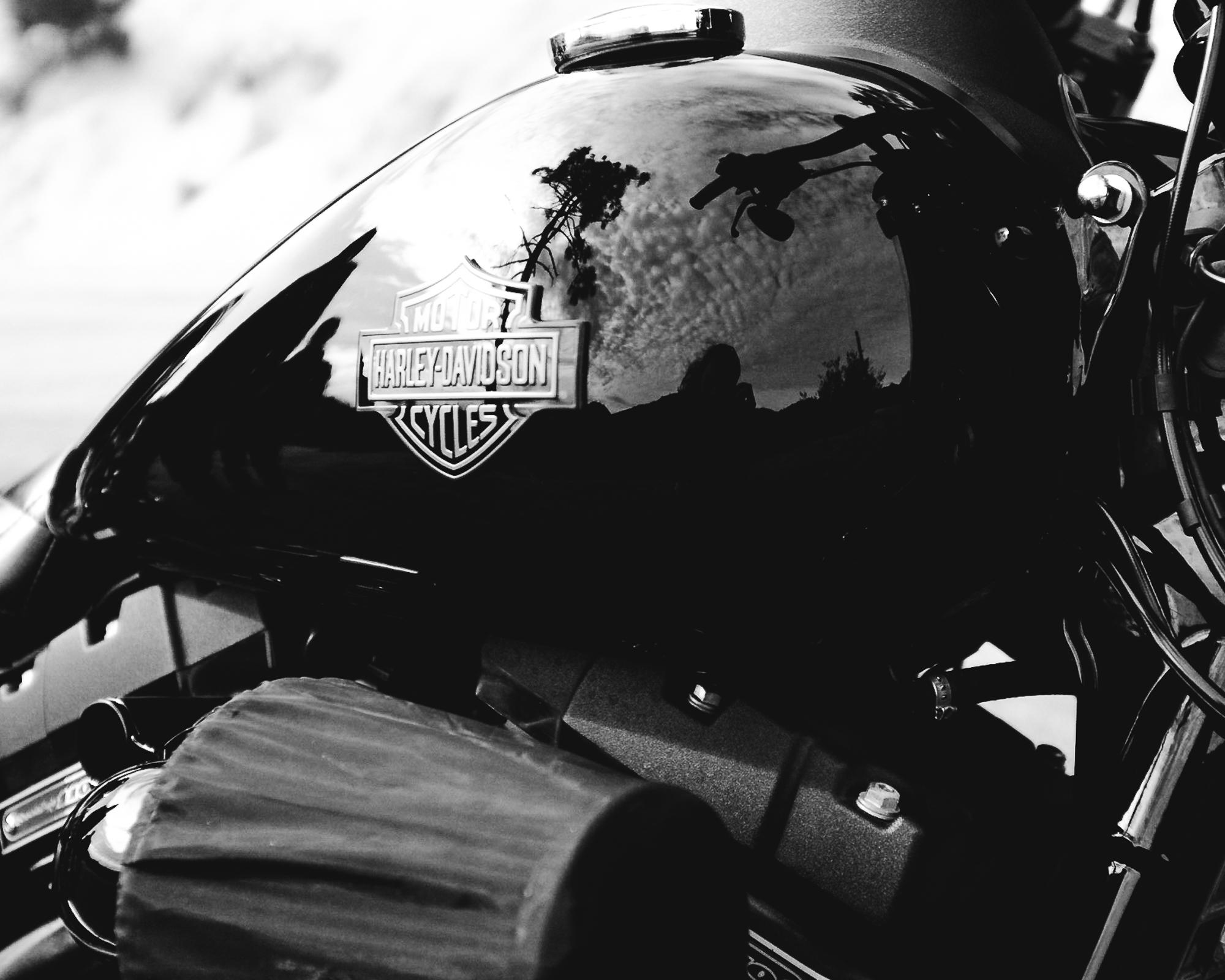 Harley Davidson tank detail shot on Fuji x-100