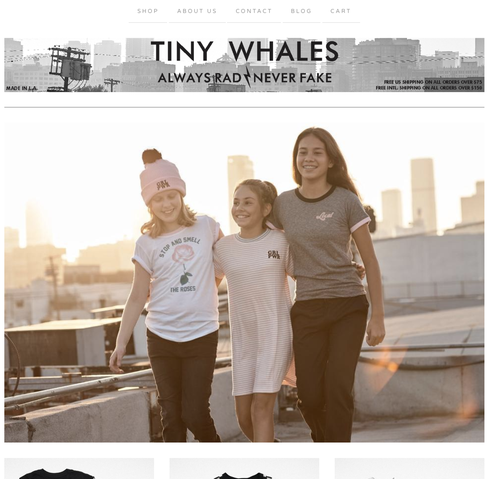 Three girlfriends walking in the sunset in downtown Los Angeles for Tiny Whales
