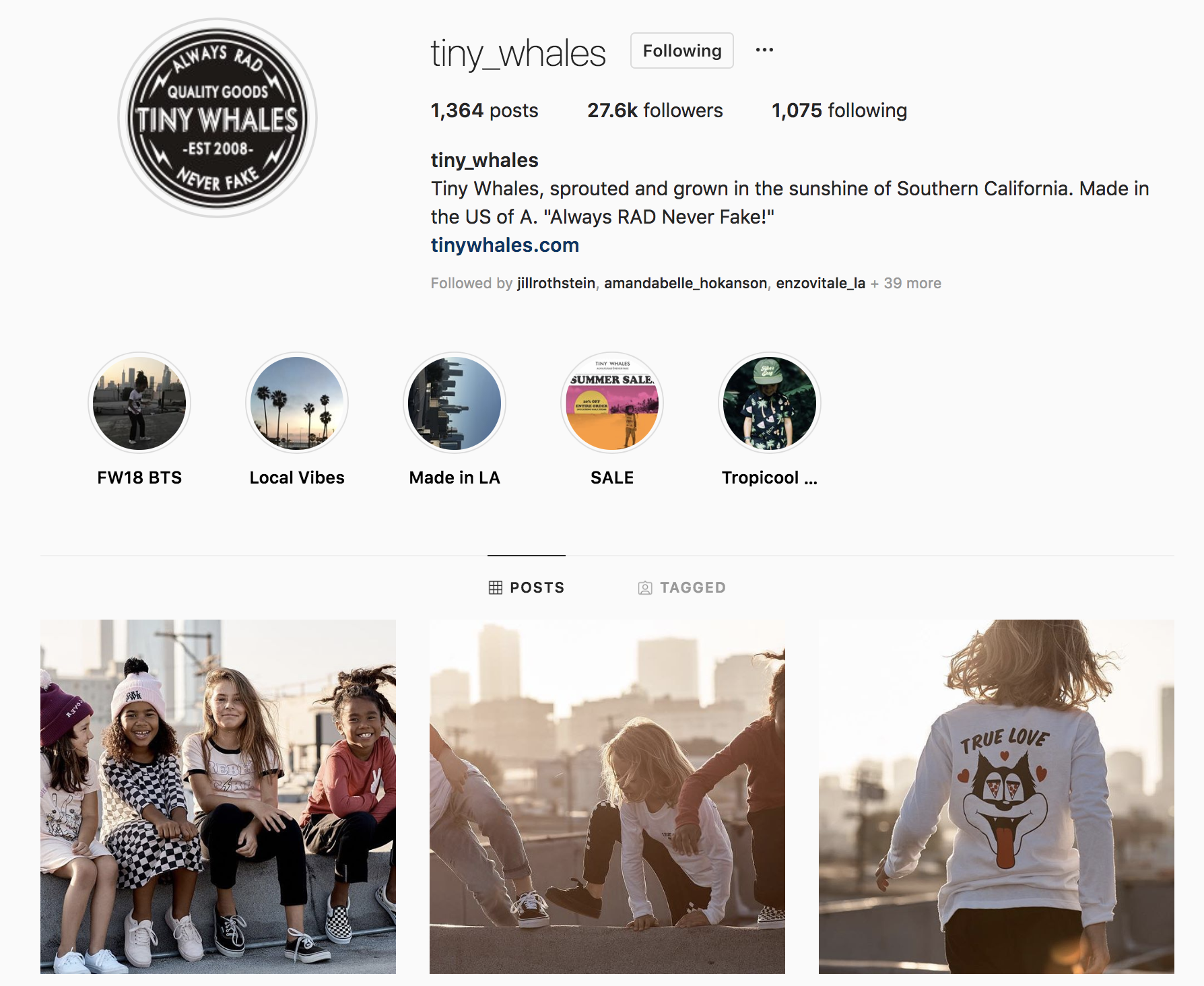 Screenshot of the Tiny Whales instagram page featuring images by Ryan Pavlovich