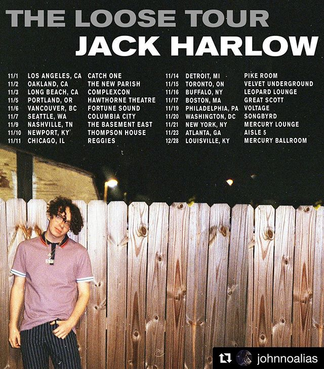 Go support great music! Hey your tickets to see @jackharlow now!