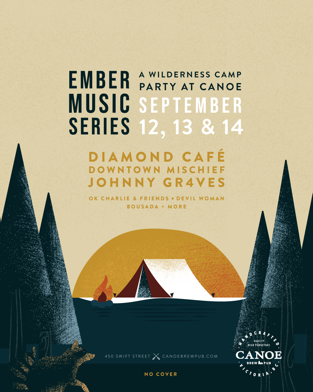 Illustration & design work for victoria-based Canoe Brew Pub's upcoming event.