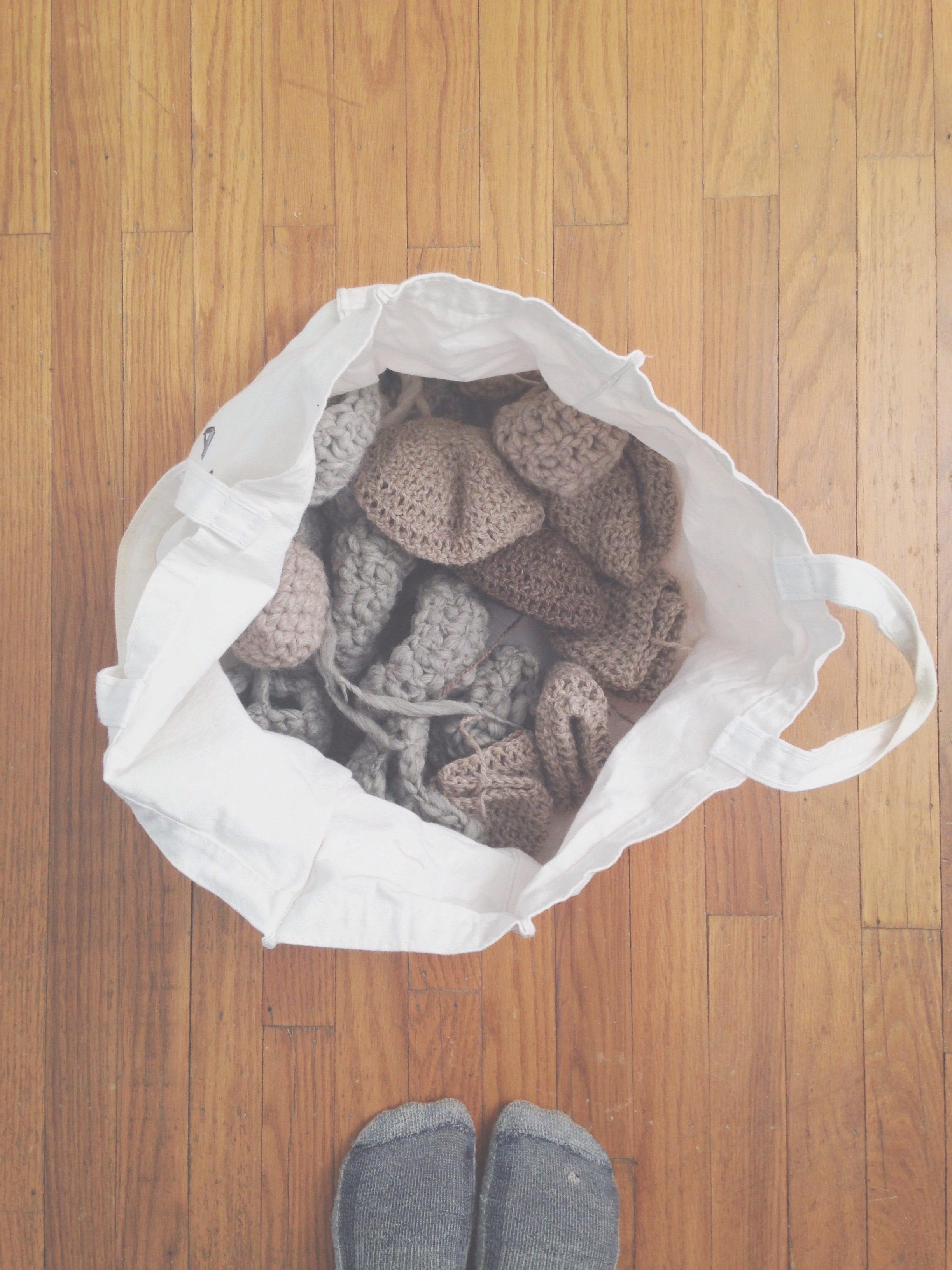 Malachos crocheted pieces in progress.