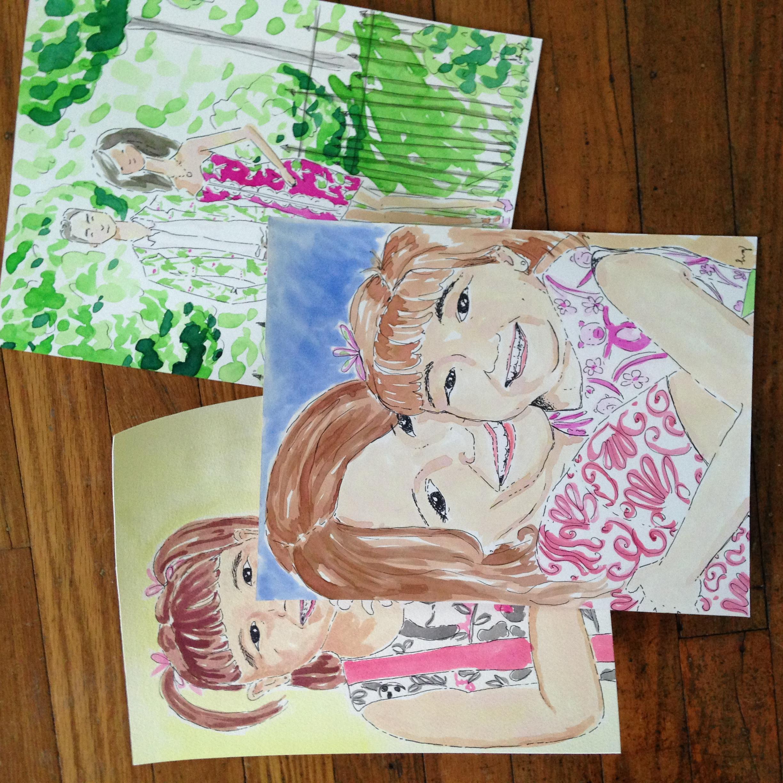 8.5 x 11 watercolor illustrations