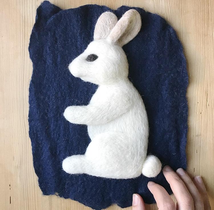 Custom White Bunny on Indigo