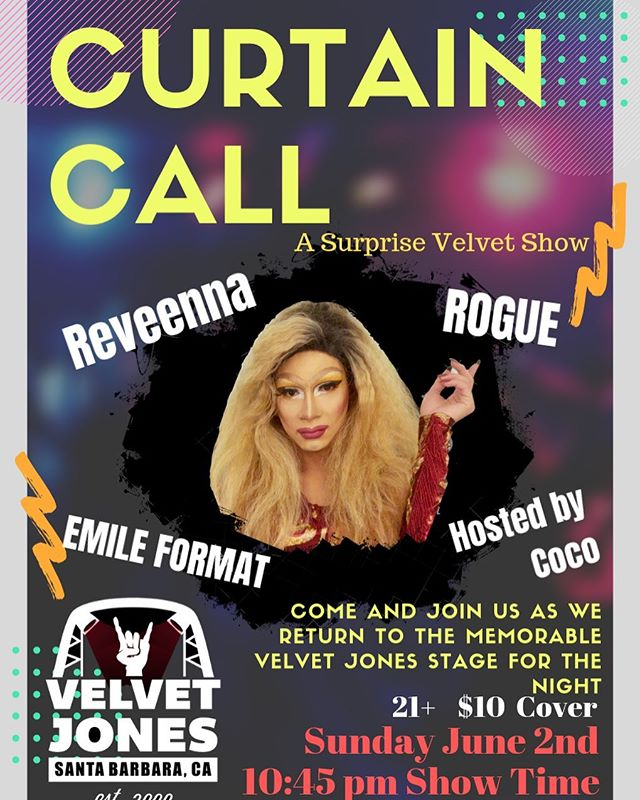 CURTAIN CALL!!! Come join the old Velvet Jones Crew, see Coco host her 1st ever show, and enjoy $5 Wells ALL NIGHT LONG, MacNCheese will be open as well (Echos Favorite post show grub) doors 10:10, show starts shortly after, $10/head, $5 wells!!!