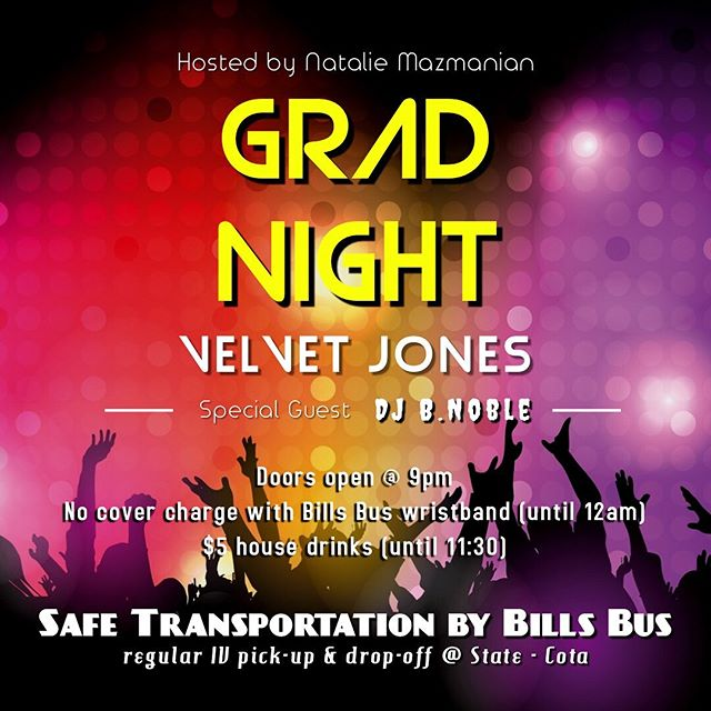 GAUCHOS💙💛 !! Are you SO over finals already?😩 Are you graduating this year? 👨🏻‍🎓👩🏽‍🎓Treat that Senioritis and finish off your Spring quarter with one last college night🤪THURSDAY night we will be having a GRAD PARTY at the new and improved Velvet Jones!🤩🥳 Doors open at 9PM & there will be NO cover charge until MIDNIGHT IF you have a BILLS BUS wristband‼️. House drinks are ONLY $5 until 11:30🍻🍹🤪! See you all tomorrow, and CONGRATS TO ALL THE SENIORS😈🥳💪🏻