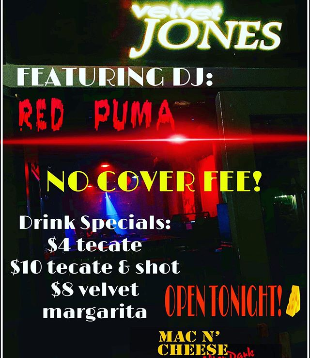 Viva La Fiesta continues at Velvet Jones and Mac n' Cheese!! Plus, DJ Red Puma is making a special appearance tonight!! Come check us out!! Drinks Specials All Night!! 🥳🇲🇽🍺🧀 #djredpuma #vivalafiesta #santabarbara #sbnightlife #supportlocalbusiness #fiesta