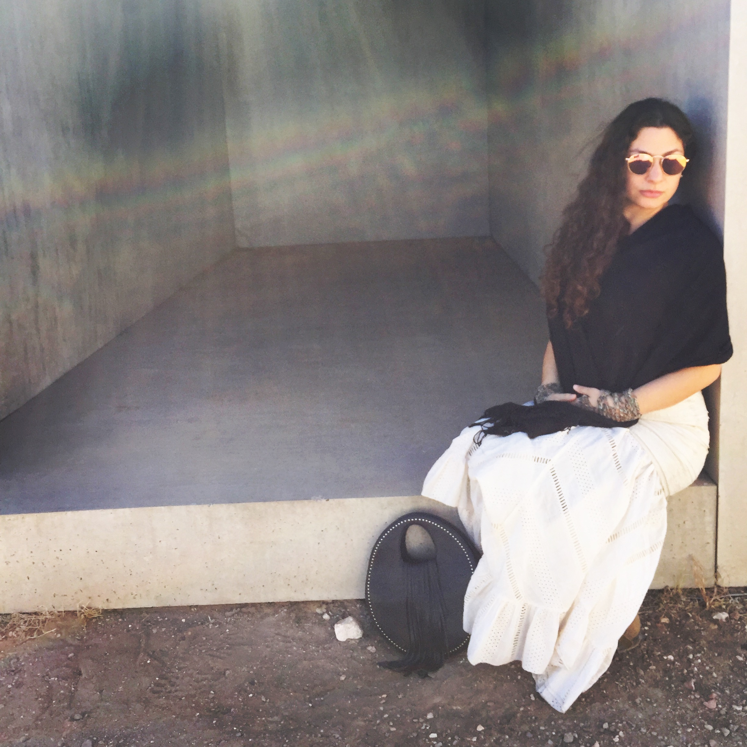 Marfa, Texas. Sitting at one of  Donald Judd's  famous blocks - 15 cement blocks  laid across the landscape. A  javelina  - trotted through the landscape, it was such a vision!