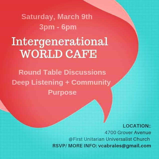 This Saturday please RSVP to this free event. I'm helping Anne Adams put this together, she's an incredible facilitator with experience working with Fortune 500 companies and leader in transforming education. She is part of SelfDesign Graduate Institute and the Elder's Action Network. . The World Cafe is a powerful social technology for engaging people in conversations that matter, offering an effective antidote to the fast-paced fragmentation and lack of connection in today's world. Based on the understanding that conversation is the core process that drives personal, business, and organizational life – it's a way of thinking and being together sourced in a philosophy of conversational leadership. . Conversations matter as does your voice. I agree there's a lot of fragmentation out there but when you build community and show up, so much incredible inspiring momentum builds. A cheer to social experiments, ☺️🦋🧚🏼‍♀️ . #communityorganizing #intergenerational #dialogue #leadership #voices #voice #empowerment #community #changeagent #socialchange #wisdom #learning #education #atx #atxevents #culturecuration #curation #listening #deeplistening #ancestors