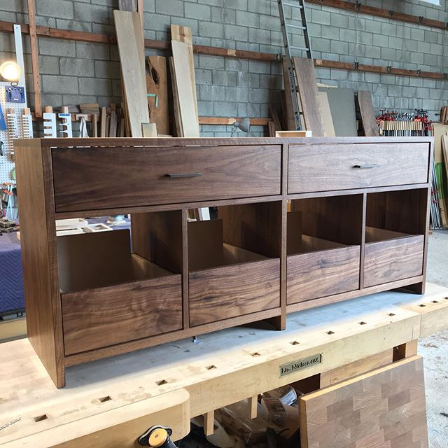 Custom Cabinet with upper drawers for CD storage.  Pulls by @schoolhouse