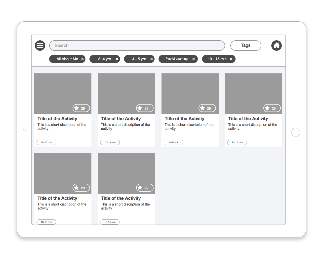 Activity search results wireframe