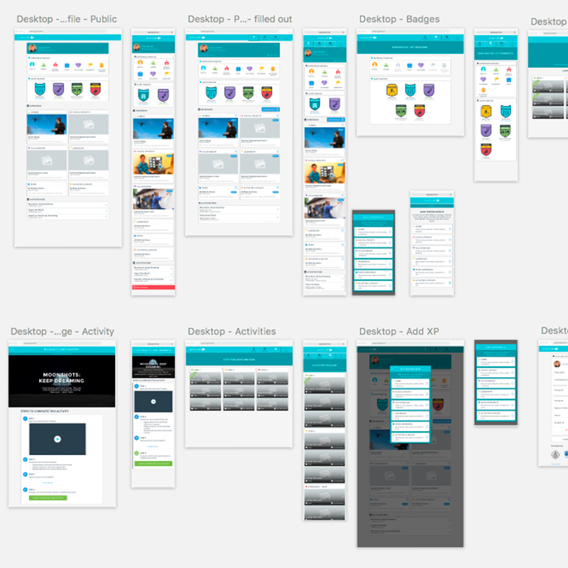 User Interface Design   Sketch artboard showing resposive designs