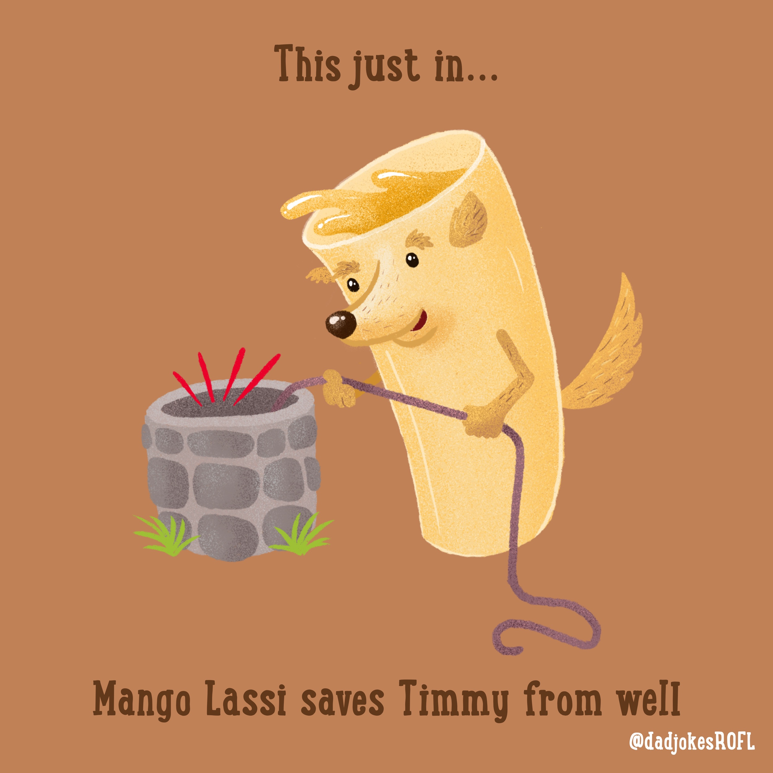 ‪This just in...‬ ‪Mango Lassi saves Timmy from well‬