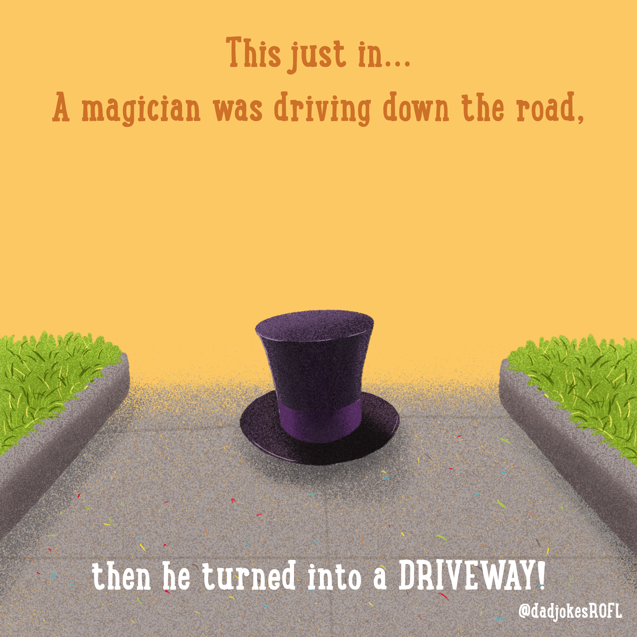 This just in... A magician was driving down the road, then he turned into a DRIVEWAY!
