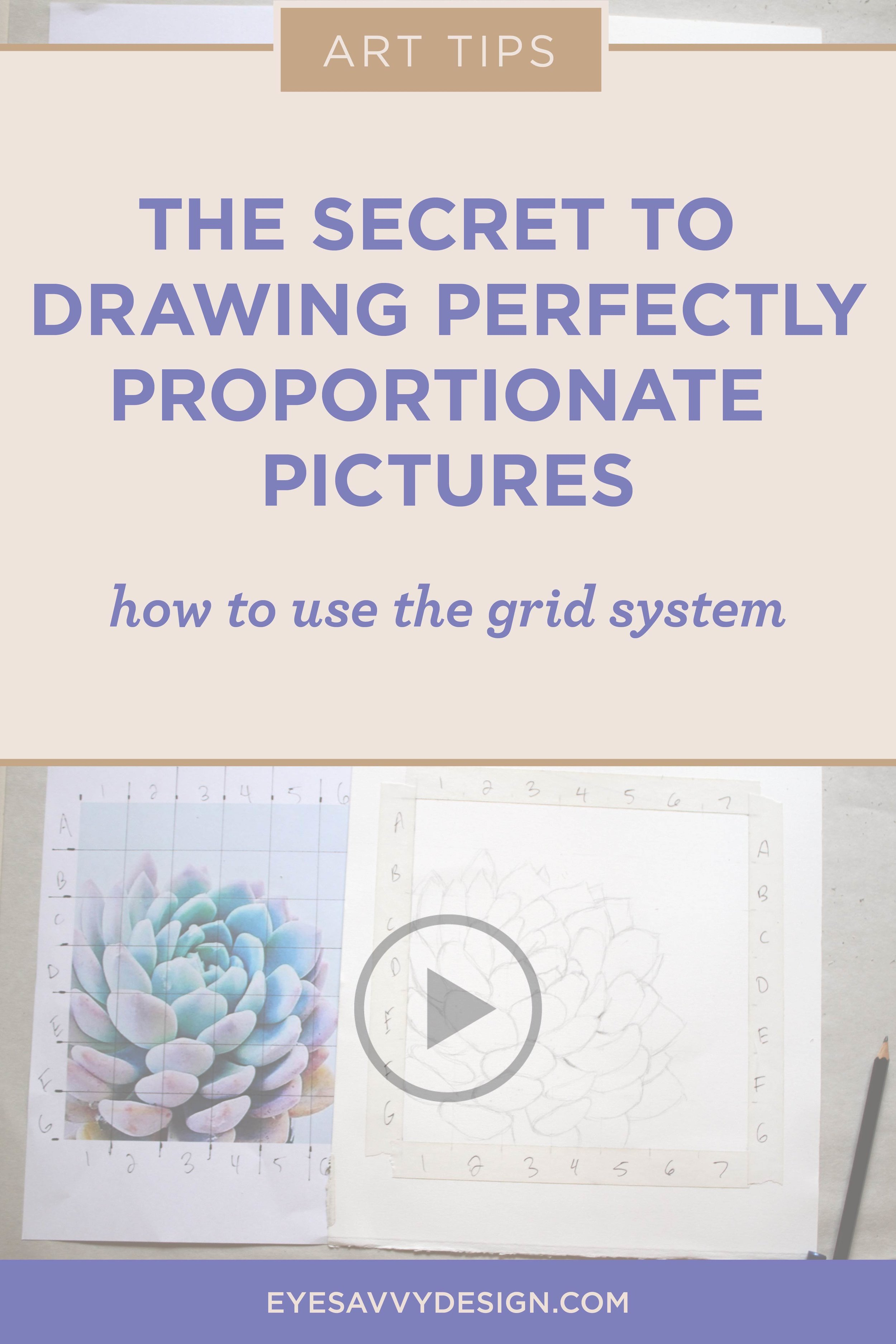 The Secret to Drawing Perfectly Proportionate Pictures by Kiki Bakowski | EyeSavvy Design | Brand Design Studio #stepbystep #tutorial will teach you how to use the #gridsystem so that it becomes incredibly easy to make your drawings and paintings look professionally drawn. #forbeginners #howtodraw, #becomeanartist #drawing101 #easydrawingtips #artisticbranding #artlessons