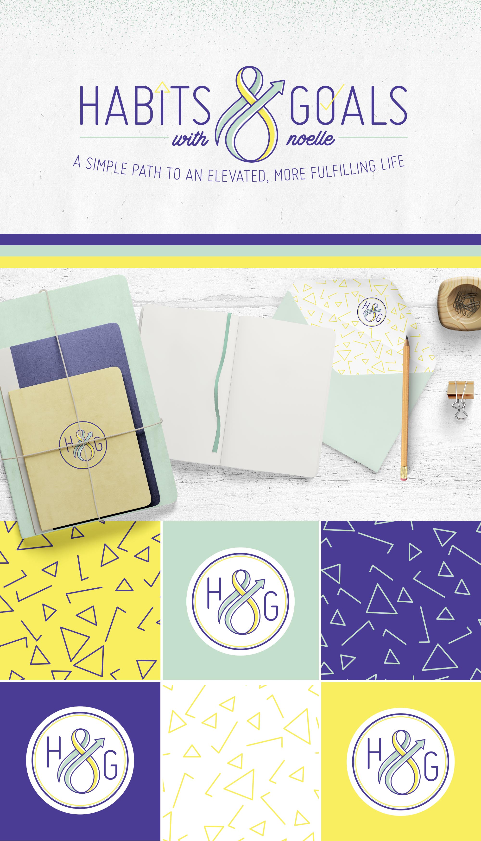 Habits and Goals with Noelle is a branding project, I did for one of my clients that sells worksheets, notebooks, etc. Click through to check out the entire brand identity design. EyeSavvy Design | Kiki Bakowski #branding #branding101 #habits #goals