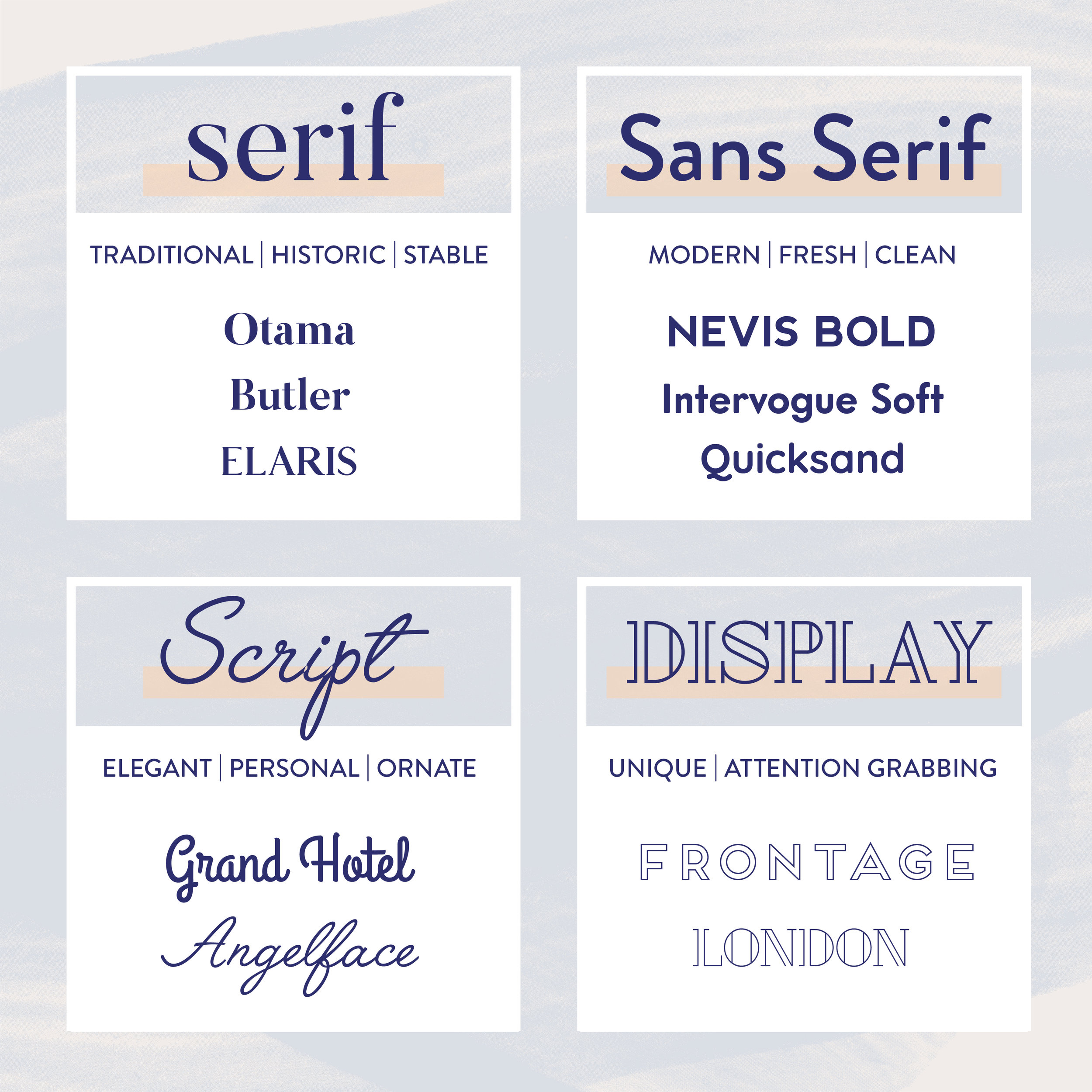 Do you know all the different types of fonts you can use in your brand? This blog post explains exactly what a font pairing is and when and how you should use them. This post also includes links to download all of them! Check them out and read more #freefonts #fontpairings #brandfonts #branding101 #branding #graphicdesigntips #fontcombinations #branding #graphicdesigner #brandconcept  #brandidentity  #brandingdesign #designprocess