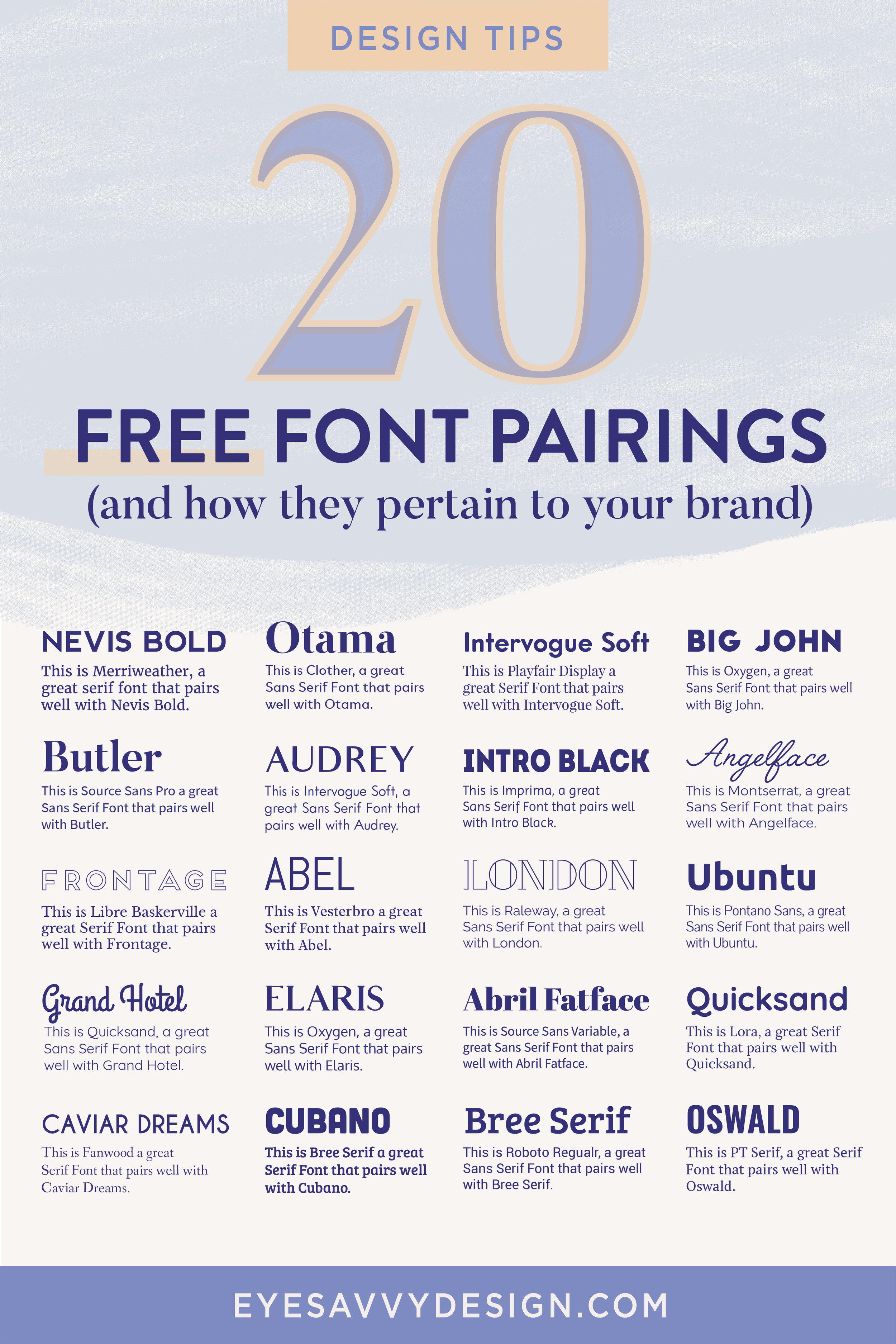 Ever wonder what font pairings are and how they pertain to your brand? This blog post explains exactly what a font pairing is and when and how you should use them. This post also includes links to download all of them! Check them out and read more #freefonts #fontpairings #brandfonts #branding101 #branding #graphicdesigntips #fontcombinations #branding #graphicdesigner #brandconcept  #brandidentity  #brandingdesign #designprocess