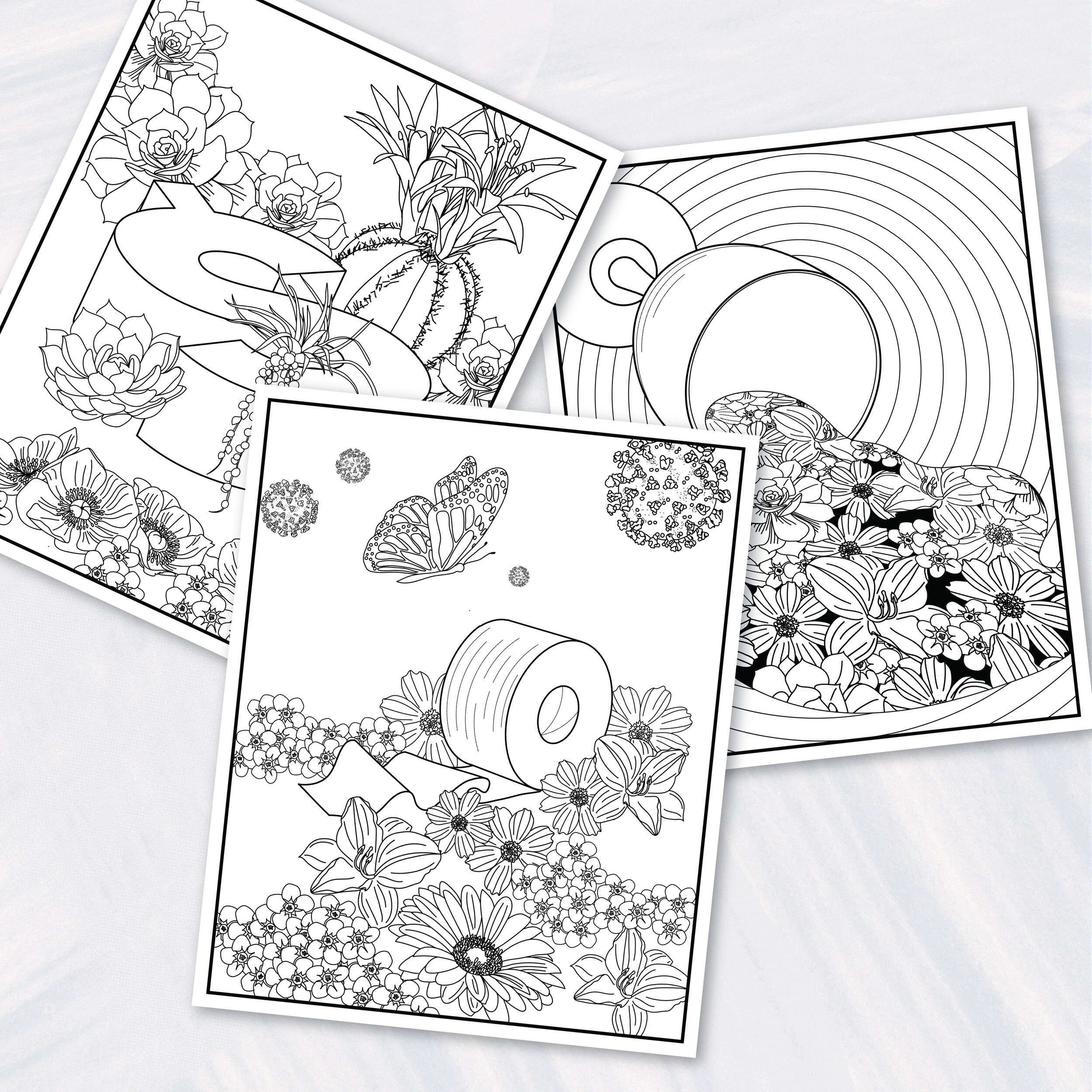 - Quarantine Coloring Pages (3) Printed On Art Paper (FREE Priority