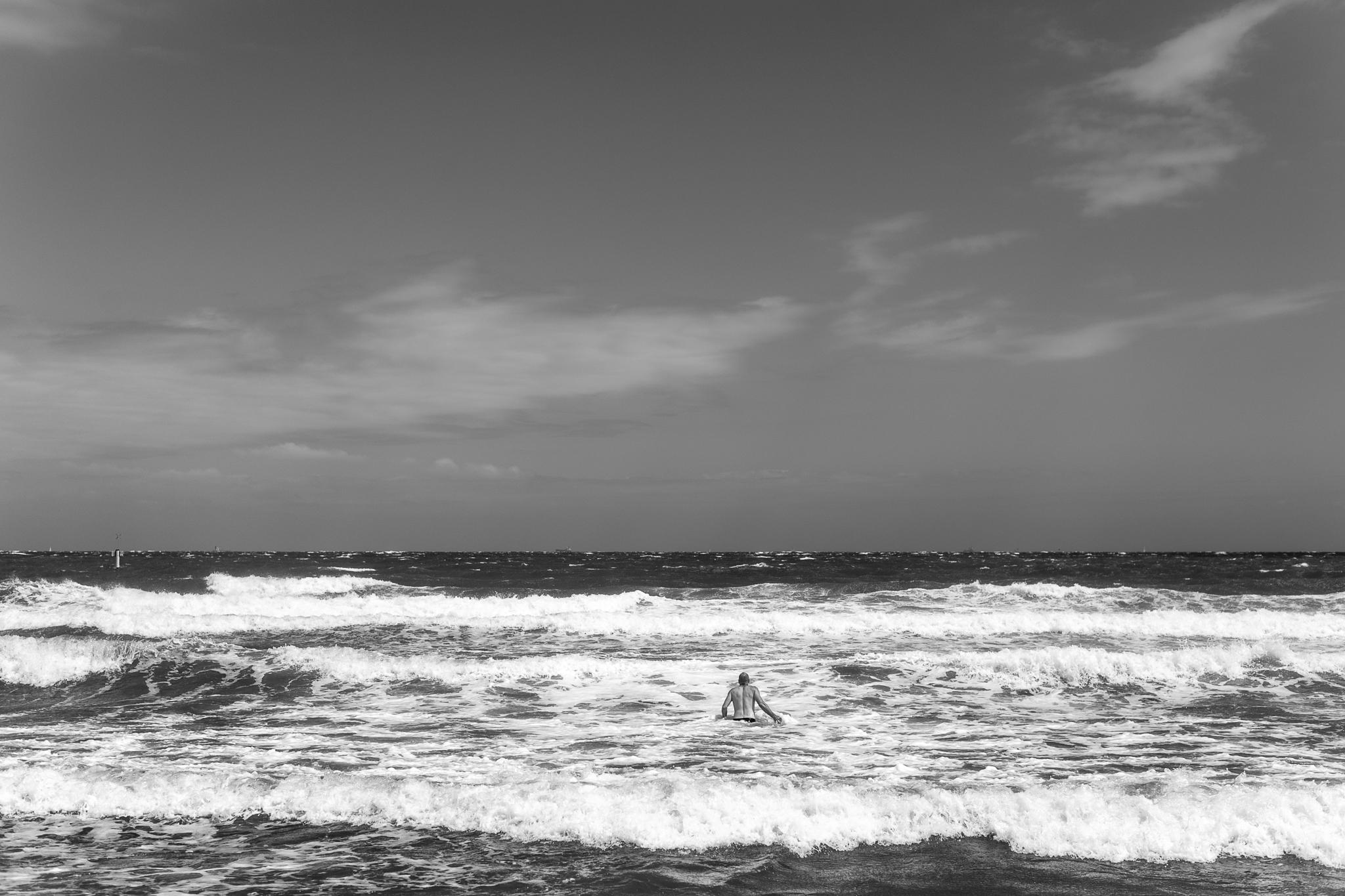 Azza in unusually aggressive surf for Port Phillip Bay, driven b